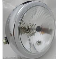 Farol Cg 125 Bolinha Cromado Em Ferro + Brinde Lampadas