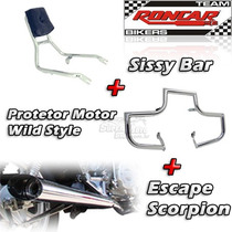 Kit Protetor Motor + Sissy Bar + Escape Esportivo Kansas 150
