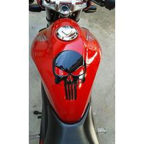 Adesivo Resinado Caveira Justiceiro Cromado Moto Vidro Carro
