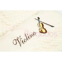 Toalha Instrumentos Musicais Violino Bordada Músico