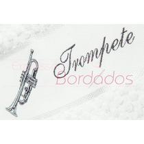 Toalha Instrumentos Musicais Trompete Prata Bordada Músico