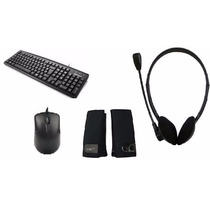 Kit Pc Computador Teclado Ps/2 Mouse Usb Headset Caixa Som