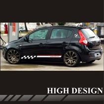 Faixas Laterais Fiat Novo Palio Abarth Red Line / Adesivo