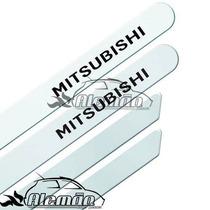 Jogo De Friso Pintado Mitsubishi L200 Com Nome Branco Alpino