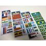 Bandeiras Países - Kit Adesivo Stickers C/12 Cartelas
