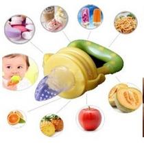 Alimentador Rosa/bico Silicone C/tampa P.fruta/carne/legumes