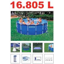 Piscina Intex 16805 Lts Estrutural Bomba Filtro Escada Capa