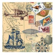 Kit C/ 20 Guardanapos P/ Decoupage Selos Mapas Retrô - Tec