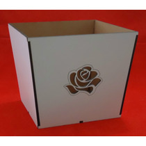 Cachepo Rosas Em Mdf Branco - Corte A Laser(ref.004)