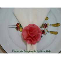 Porta Guardanapo Flor Tecido Casamento Festas R$ 2,00un