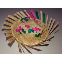 Chapeu De Palha Colorido Em Miniatura Para Garrafa Kit C/ 25