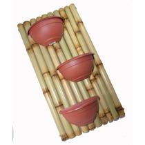 Floreira De Parede De Bambu C/ 3 Vasinhos.