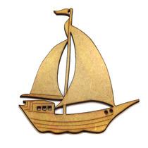 Aplique Mdf Barco Recorte Miniatura Escultura Parede Laser