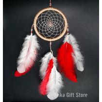 Filtro Dos Sonhos Olho Grego Pena Vermelho E Branco 35cm