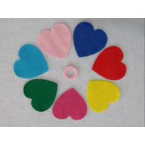 Coração De Feltro Colorido Para Artesanato - 4,5 Cm - 150 Pç