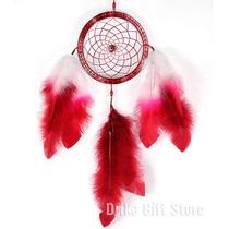 Filtro Dos Sonhos Vermelho E Branco C/ Olho Grego Pena 35cm