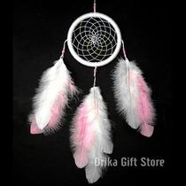 Filtro Dos Sonhos Apanhador Penas Branco Branca E Rosa 35cm