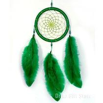 Filtro Dos Sonhos Apanhador Pena Penas Verde - 35cm
