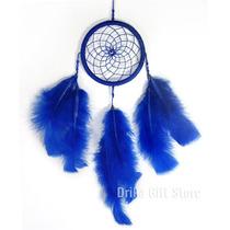 Filtro Dos Sonhos Apanhador Olho Grego Turco Pena Azul 35cm