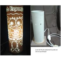 Luminária Em Pvc, Abajur Em Pvc Bob Esponja 30 X 10cm
