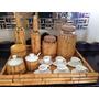 Artesanato Em Bambú - Bandeja, Garrafas, Potes E Xícaras