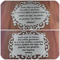 Produtos Em Mdf Branco - Oração Santo Anjo 30cm Comprimento