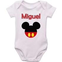 Body Personalizado Infantil Bebê Minnie Mickey Peppa Pig