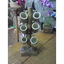 Copinho Para Cachaça Em Bambu ( 6 Unidades +1 Suporte)