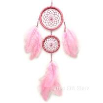 Filtro Dos Sonhos Pena Rosa Grande Com Olho Grego - 45cm