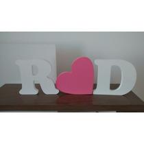 Trio Letras Mdf. Brancas + Coração Rosa Iniciais Dos Noivos