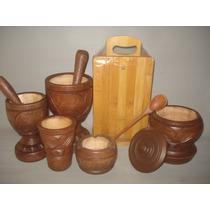 Kit Pilão Caipirinha+ Conjunto Tabuas De Bambú=12 Péças