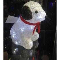 Cachorro Led Acrílico Enfeite Natalino Natal Pisca 8funções