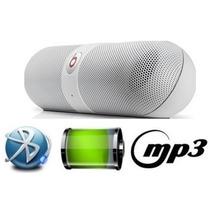 Mini Caixa De Som Portatil Bluetooth Sd Beats Pill Led White
