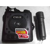 Caixa De Som Amplificada Com Microfone Sem Fio Usb Portátil