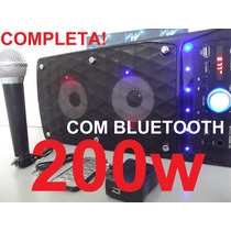 Caixa Som Amplificada Bluetooth 200w Completa, Usb, Sd Mp3