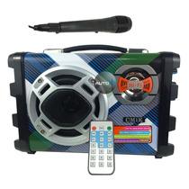 Caixa De Som Amplificada + Microfone C Fio Karaoke Fm Com
