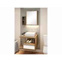 Balcão Para Banheiro Cherry 60 X 50cm Branco E Grigio
