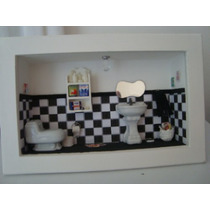 Roombox De Banheiros Lindos Quadros Com Miniaturas De Banho