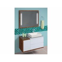 Conjunto Linea Plus 100x50cm C/ Cuba E Espelho Com Luminária