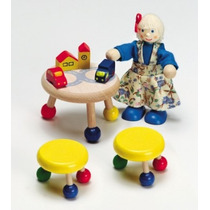 Miniaturas - Casa De Bonecas - Mesa - Bancos - Brinquedos