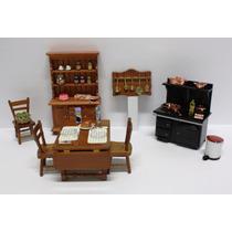 Miniatura Cozinha Casa Boneca-esc.1:12-fogão, Armário E Mesa