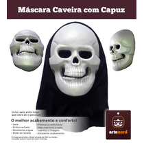 Máscara Fantasia Halloween Caveira Emborrachada Com Capuz