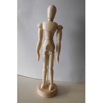 Boneco Manequin Articulado 30cm Madeira Clara Vem Na Caixa