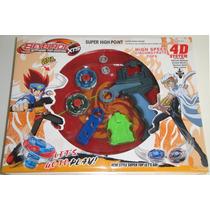 Super Kit Com 2 Beyblades + 1 Lançador + 1 Arena + 1 Grip