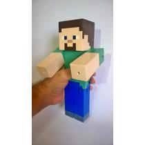 Boneco Minecraft Madeira Articulado