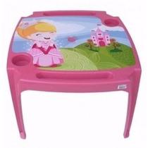 Mesa Mesinha Infantil Com 2 Cadeiras Princesas Menina Rosa