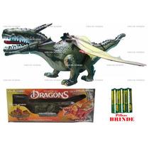 Dragão 2 Cabeças Dinossauro Eletrônico 3d Bate Asas Anda