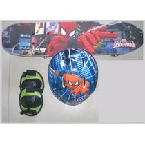 Skate Infantil Homem Aranha Com Acessórios De Segurança