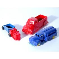 Caminhões (2) E Trator(1) Americanos Plástico Rígido Anos 40