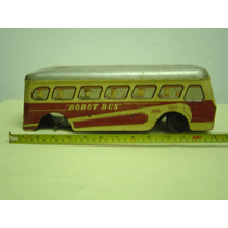 Brinquedo Antigo Ônibus À Corda De Lata Litografado Usa